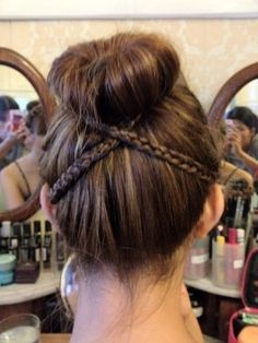 Sideways braids to step up your sock bun.