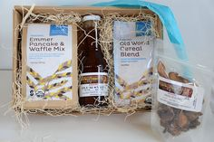 Methow Breakfast of Champions Box A gift box filled with Emmer Pancake Mix, Organic Fruit Syrup, Old World Cereal Blend, Organic Dried Fruit Pack and personalized Bluebird Note Card.   Products are nestled in natural grass fibers in a 100% recycled box. Please put your gift message in the comment section at check out. http://www.bluebirdgrainfarms.com/product/methow-breakfast-of-champions-box/ #gifts #emmer #bluebirdgrainfarms #breakfast