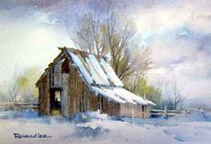 Utah Barn in the Snow , Original watercolor painting of a Utah barn during a winter snowfall - Watercolor Paintings by Roland Lee