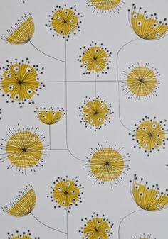 Midcentury Dandelion Mobile wallpaper range by MissPrint - Retro to Go White Wallpaper, Print Wallpaper, Mobile Wallpaper, Pattern Wallpaper, Mustard Wallpaper, Feature Wallpaper, Wallpaper Online, Bathroom Wallpaper, Textile Patterns
