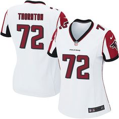 Women's Nike Atlanta Falcons #72 Hugh Thornton Game White NFL Jersey