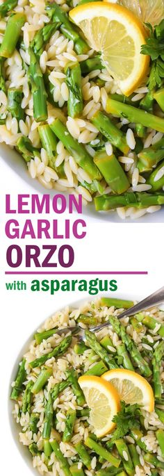 EASY 6-ingredient, 20 minute, Lemon Garlic Orzo with Asparagus! Perfect spring side dish with bright pops of flavor! #vegan #asparagus #orzo