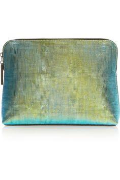 3.1 Phillip Lim 31 Minute iridescent textured-leather clutch NET-A-PORTER.COM
