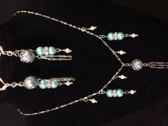 Simple silver and teal pearls drop set by ScottishDryAd on Etsy, $28.00