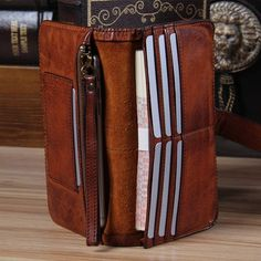 Long Handmade Cuir Véritable Homme Portefeuille deux volets sac à main carte de crédit