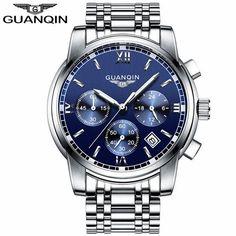 GUANQIN LUXURY Men Business Top Brand Silver Steel Quartz-Watch Chronograph Luminous Date Clock Men's Fashion Casual Wristwatch