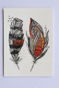 Sunset Feathers. $25.00, via Etsy.