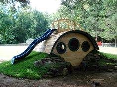 """Woodshire"" Hobbit Hole Playhouse - outdoor playsets - other metro - Hobbit Holes by Wooden Wonders"