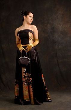 Wedding dresses from Anna Niponica, a company that takes wedding kimono and resews them as Western gowns.