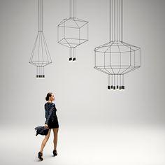 La lámpara colgante Wireflow 3D reinterpreta y renueva la estética de las lámparas chandelier.Con lámparas LED de 3,7W. Disponible con 4, 6 y 8 difusores.