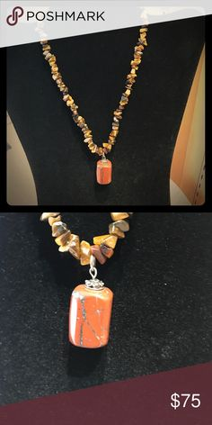 Tigers eye necklace, with carnelian pendant. A beautiful and charming tigers eye neck know for its release of fear and anxiety, healing, and better understanding of situations. The carnelian is an agent representing individuality, courage and creativity Jewelry Necklaces