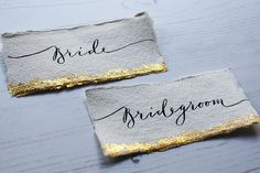 Handmade paper place cards / Modern calligraphy place cards /