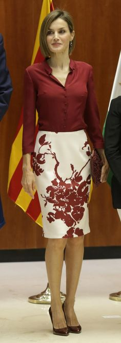 Queen Letizia of Spain attends an official lunch at the Constitutional Court on September 9, 2015 in Madrid, Spain.