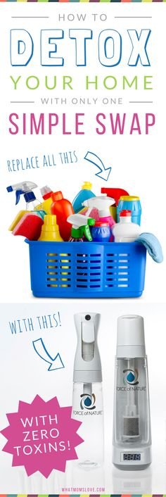 Create a toxin free home by eliminating chemical cleaners and swapping them for an all-natural all-purpose cleaner that has no chemicals, toxins, dyes or fragrances | Safe cleaning products for kids and families | Force of Nature Review