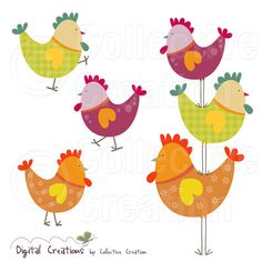 Rooster Stack Digital Clip Art Set  Personal by CollectiveCreation, $5.20