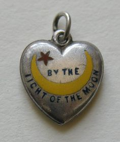 """Victorian Enameled By The Light of the Moon """"Ada"""" Rebus Sterling Heart Charm"""