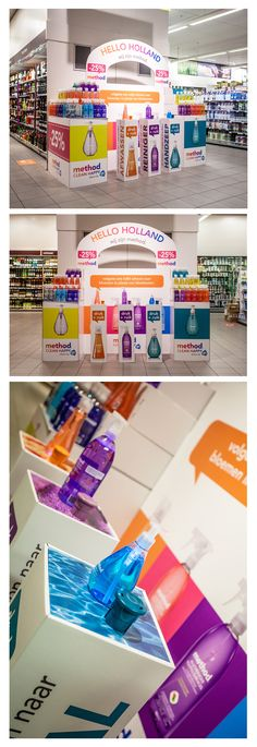 De Method display die we gemaakt hebben is héél gaaf geworden ^_^ Nu te zien bij de Albert Heijn XL.  Inclusief geurknoppen en verlichting.  (cardboard, instore, pos, karton, point of sale, scent buttons, Method Clean Happy) www.schumacher-packaging.com