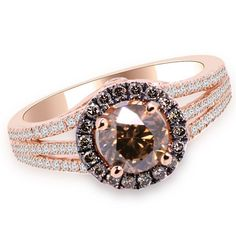 Jewelry Point - 1.55ct Champagne Diamond Halo Engagement Ring 14k Rose Gold, $2,690.00 (http://www.jewelrypoint.com/1-55ct-champagne-diamond-halo-engagement-ring-14k-rose-gold/)