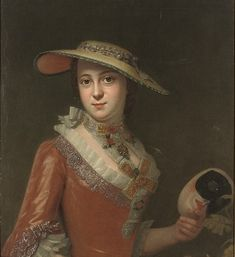 Circle of Antoine Pesne (Paris 1683-1757 Berlin) Portrait of a lady, half-length, in a red embroidered dress, and a straw hat, a mask in her left hand