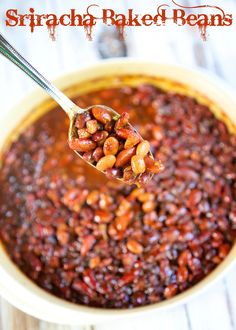 Sriracha Baked Beans - baked beans with a kick!
