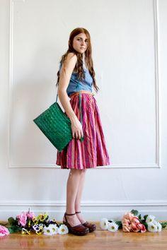 sleeveless denim and multicolored skirt