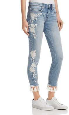 Blank NYC BLANKNYC Embroidered Tassel-Hem Skinny Jeans in Blue - 100% Exclusive