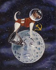 """Laika the Space Race: """"The more time passes, the more I'm sorry. We did not learn enough from the mission to justify the death of the dog. Laika Dog, Space Cowboys, Soviet Art, Space Race, Vintage Space, Retro Futurism, Illustrations, Dog Art, Constellation"""