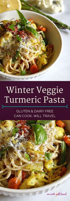Serve this Winter Roasted Veggie Turmeric Pasta on its own or toss in your favorite protein for a gluten free and healthy meal that's perfect for the season!