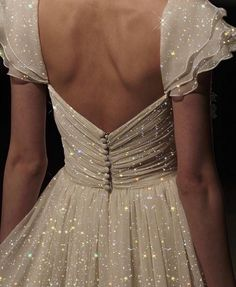 White, sparkly dress, elegant, back aesthetic glitter