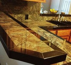 Smooth granite tile countertop