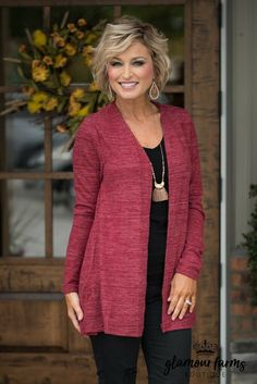 Fall In Autumn Lace-Up Cardigan - Burgundy autumn Burgundy cardigan fall laceup 742953269763118948 Fashion For Women Over 40, 50 Fashion, Look Fashion, Plus Size Fashion, Autumn Fashion, Fashion Outfits, Brunch Outfit, Casual Work Outfits, Summer Outfits