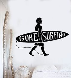 Vinyl Wall Decal Surfing Guy Surf Beach Surfer Quote Stickers Murals (ig4829)