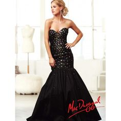Black Long Mermaid Prom Dress With Colorful Crystal