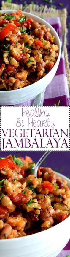 Healthy and Hearty Vegetarian Jambalaya - Jambalaya, although not typically thought of as a vegetarian dish, can now be enjoyed by all! Staying true to traditional flavours, this dish is hearty and healthy and meatless!