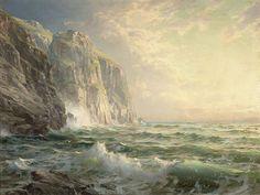 William Trost Richards-Mer d'orage sur les falaises-1902