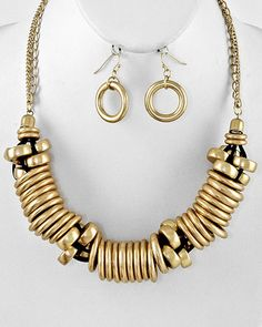 Matte Gold Tone / Black Cord / Matte Gold Ccb Beads / Lead Compliant / Necklace & Fish Hook Earring Set