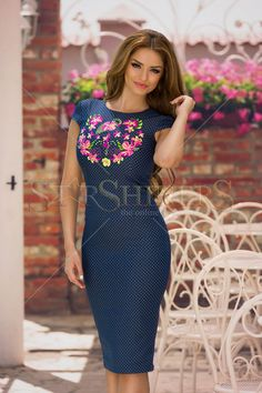 StarShinerS Embroidered Blossom DarkBlue Dress, dots print, embroidery details, back zipper fastening, slightly elastic fabric Clothing Items, Size Clothing, Dress Outfits, Prom Dresses, Baptism Dress, Daily Dress, Fall Collections, Trendy Outfits, High Neck Dress