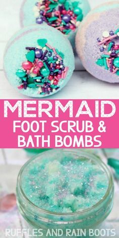 DIY Mermaid Spa Day Oh wow - these are gorgeous! The scrub only takes 5 minutes and the bath bombs I made and gave away to a few friends. This was seriously the best spa day at home ever - the kids and I all loved it! Spa Day Party, Kids Spa Party, Diy Spa Day, Spa Birthday Parties, 7th Birthday, Spa Day For Kids, Spa Day At Home, Spa Tag, Spa Night