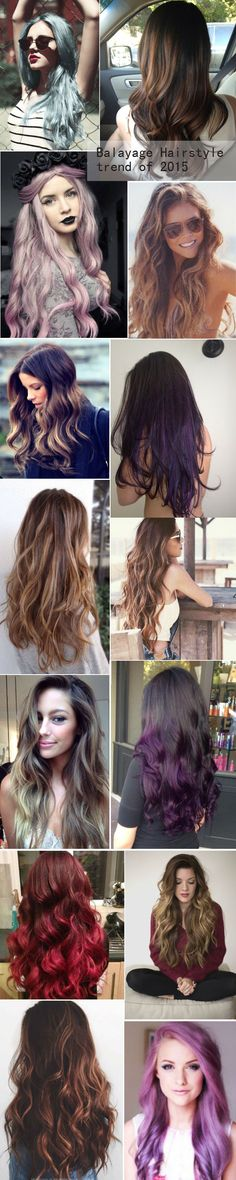 Balayage & ombre Hairstyles of different kinds, giving you more hair ideas of 2015 summer. Long brown hair with blonde highlights / caramel / honey / chocolate / hair color / Ombre / balayage / dark hair with highlights / haircolor / summer hairstyles / beach waves / sun kissed / surfer hair / summer waves / loose curls / long layers