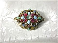 Cabochon  HOLLYCRAFT Jewelled Brooch