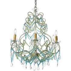 Canopy Designs Beach Florentine Chandelier - Small ($2,665) ❤ liked on Polyvore featuring home, lighting, ceiling lights, chandeliers, lamps, multi color lamp, colorful lights, beaded lamp, multi color chandelier and multi colored lights
