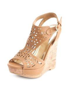 cutout peep toe wedge sandal