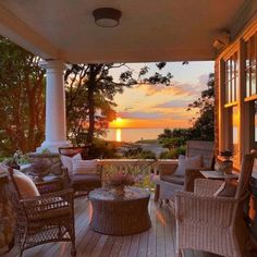exterior, outdoor furniture, and porch image Nantucket Cottage, Cottage Style, Lakeside Living, Outdoor Living, House Front Porch, Side Porch, Summer Porch, Outdoor Spaces, Outdoor Decor