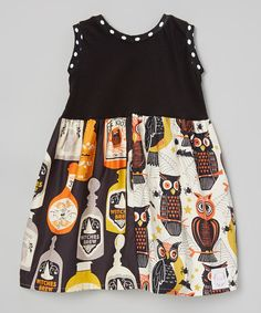 Look at this Sutton's Buttons Black Witches Brew A-Line Dress - Infnat, Toddler & Girls on #zulily today!