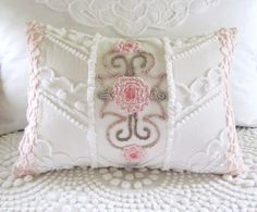 LOVE this CHEVRON ROSES vintage chenille pillow cover
