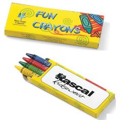 4-Pack Crayon SAMCOCB - Our 4-pack of crayons includes red, blue, yellow and green (assorted only). Comes in a new colorful box with large, imprint area on one side. Made with non-toxic formula. This child friendly promotional item would be great for after school programs and more. Ideal for restaurants, daycares and hospitals! #propelpromo