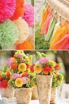 Crafty & Enchanting Floral Fox Birthday Party - birch wrapped vases and colorful arrangements