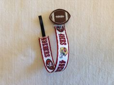 San Francisco 49ers Football Universal Pacifier Clip With Heart or Football Feltie for Baby Girl or Baby Boy