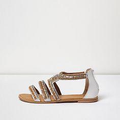 e65341514581 Gold embellished strappy sandals  80.00 River Island Shoes, River Island  Outfit, Shoes Flats Sandals