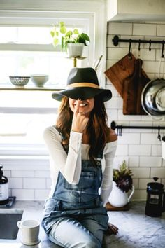 Summer Blue Overalls and Black Hat